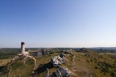 Fördärvar av slotten i Olkusz Arkivfoton