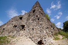 Fördärvar av slotten Nevytske i Transcarpathian region Uzhgorod foto Nevitsky slott som byggs i det 13th århundradet ukraine Royaltyfri Fotografi