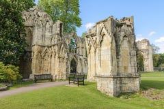 Fördärvar av St Marys AbbeyYork, UK Arkivfoto