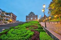 Fördärvar av St Paul i Macao, Kina Arkivfoto
