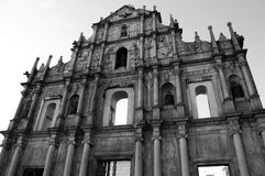 Fördärvar av Sts Paul kyrka i Macao Arkivbilder