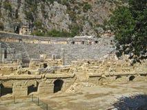Fördärvar av teater i den antika staden Myra Turkey arkivbild