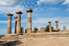 Fördärvar av templet av Athena i Assos Royaltyfri Foto