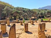 Fördärvar av Tipasa (Tipaza) Den groteska staden var en colonia i romerska landskapMauretania Caesariensis loca arkivfoton