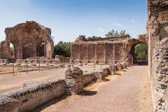 Fördärvar av villan Adriana nära Rome, Italien Royaltyfri Bild