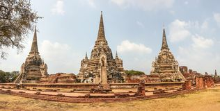 Fördärvar av Wat Phra Si Sanphet, Ayutthaya arkivfoto