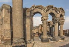Fördärvar av Zvartnots den himmelska ängeltemplet Armenien, central som Royaltyfri Foto