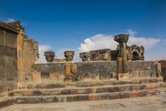 Fördärvar av Zvartnots den himmelska ängeltemplet Armenien, central som Arkivfoto
