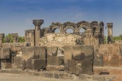 Fördärvar av Zvartnots den himmelska ängeltemplet Armenien, central som Arkivbild