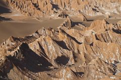 Fördärvar dalen - Valle de Marte och Cordillera de la Sal, den Atacama öknen, Chile arkivbilder