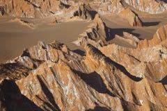 Fördärvar dalen - Valle de Marte och Cordillera de la Sal, den Atacama öknen, Chile arkivfoton
