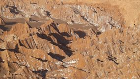 Fördärvar dalen - Valle de Marte och Cordillera de la Sal, den Atacama öknen, Chile arkivbild