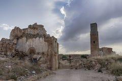 Fördärvar den Belchite byn som förstörs av bombningen av den spanska inbördeskriget Arkivfoto