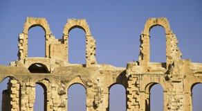 fördärvar forntida roman för amfiteater tunisia Arkivbilder