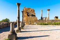 Fördärvar i den forntida gamla roman staden Volubilis, Unesco, Meknes, Moroc fotografering för bildbyråer