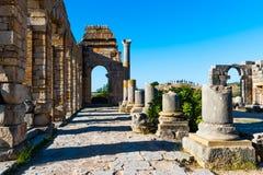 Fördärvar i den forntida gamla roman staden Volubilis, Unesco, Meknes, Moroc arkivfoton