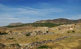 Fördärvar i den forntida staden Hierapolis Turkiet Arkivfoto