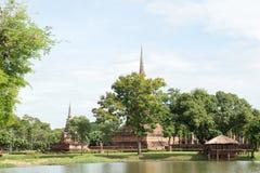 Fördärvar i det historiskt parkerar i sukhothai Arkivfoton