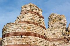 Fördärvar i gammal stad av Nessebar, Bulgarien Fotografering för Bildbyråer