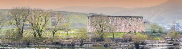 Fördärvar kloster i stänger, på Mosellen Royaltyfria Bilder