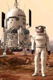 Fördärvar landeren och astronautet Arkivfoto