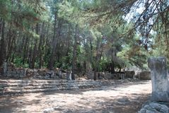 Fördärvar och fördärvar bevaras bland den gröna vegetationen av skogarna av Turkiet nära Antalya arkivfoton