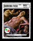 Fördärvar och Venus, Botticelli, stämpelutställningITALIA '85 serie, c Royaltyfria Bilder