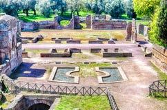 Fördärvar på villan Adriana (Hadrians villa), Tivoli, Italien royaltyfri foto