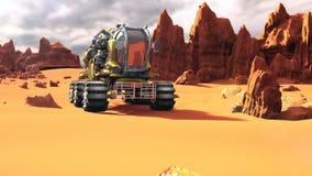 Fördärvar Rover på den röda planeten Ett futuristiskt begrepp av en kolonisation av Mars stock illustrationer