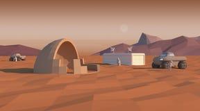 Fördärvar roveraffischen Temat av utforskning av rymden och fördärvar kolonisation Arkivfoton