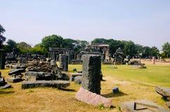 Fördärvar tempelkomplexet, det Warangal fortet, Warangal, Telangana arkivbild