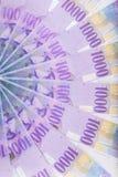 Fördelade schweizisk franc sedlar över golvet - Schweiz curr Arkivbild