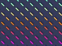 Fördelade Symmetrically sneda kulöra kapslar på ljust - blå bakgrund stock illustrationer