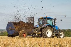 Fördelande gödsel för modern ny Holland traktortraktor på fält arkivfoto