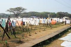 Fördelande linne för dam som ska torkas på en tvätteri av fortet Cochin Royaltyfria Bilder