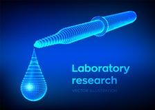 Fördelande pipett med att dyka upp droppe Laboratoriumforskning Wireframe medicinsk pipett med flytande och den fallande lilla dr royaltyfri illustrationer