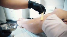 Fördelande vax på ben för hårborttagning materiel Ung kvinna med härliga ben som sätter något vax på dem för att ta bort alla stock video