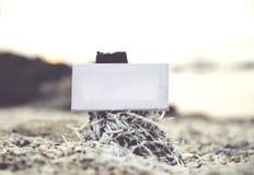 Fördelblickbilden av den vita kanfasramen på stubbe med bubblor och musslan beskjuter bakgrund Arkivfoton