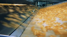 Förderband und Chips, die schnell auf es fallen stock video