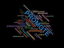 Fördern Sie - fassen Sie Wolke wordcloud ab - Ausdrücke von der Globalisierungs-, Wirtschafts- und Politikumwelt stock abbildung