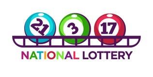 Förderndes Firmenzeichen der nationalen Lotterie mit nummerierten Bällen auf Regal Lizenzfreies Stockfoto