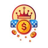 Förderndes Firmenzeichen des modernen Clubs des Kasinos mit königlicher Krone Stockfotos