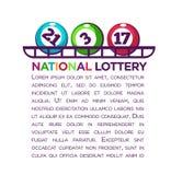 Förderndes Plakat der nationalen Lotterie mit nummerierten Bällen und Beispieltext Lizenzfreies Stockfoto