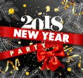 Förderndes Plakat 2018 der Partei des neuen Jahres mit Fichtenzweigen Stockbilder