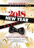 Förderndes Plakat 2018 der Partei des neuen Jahres mit schwarzem silk Bogen vektor abbildung