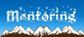 FÖRDERUNG geschrieben mit Schneeflocken auf blauen Himmel und schneebedeckten Gebirgshintergrund lizenzfreie abbildung
