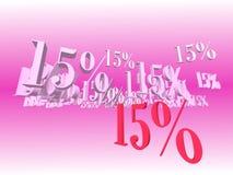 Förderung-Rabatt 15% Stockfoto