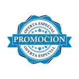 förderung Sonderangebot - bedruckbarer Stempel des spanischen Geschäfts Lizenzfreie Stockfotos