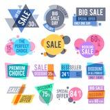 Förderung wird, bestes Angebot deutlich und Preisaufkleber und -rabatt beschriftet Vektorsatz stock abbildung