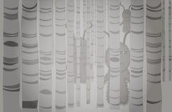 Fördjupat i misten finns det en skog av popplar med konstig närvaro royaltyfri illustrationer